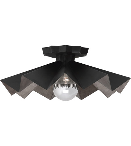 Robert Abbey Blk70 Rico Espinet Bat 1 Light 6 Inch Matte Black Painted Flushmount Ceiling