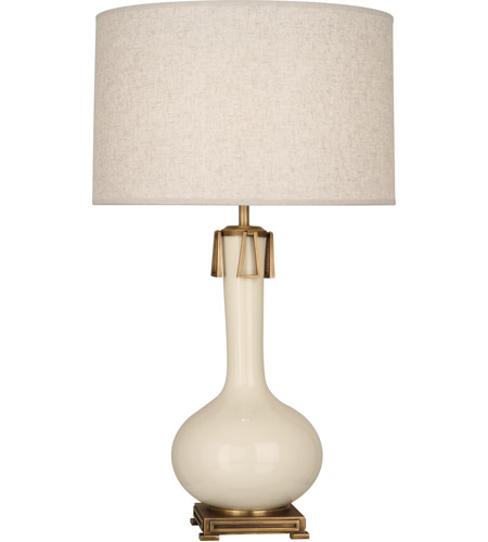 Robert Abbey BN992 Athena 32 inch 150 watt Bone with Aged Brass Table Lamp Portable Light photo thumbnail