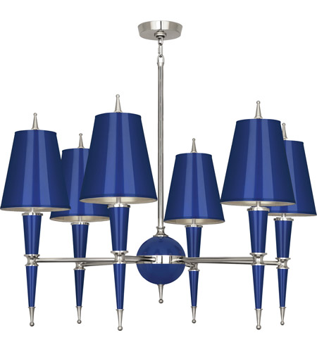 Robert Abbey C604 Jonathan Adler Versailles 6 Light 15 inch Navy Lacquer with Polished Nickel Chandelier Ceiling Light in Navy With Matte Silver photo