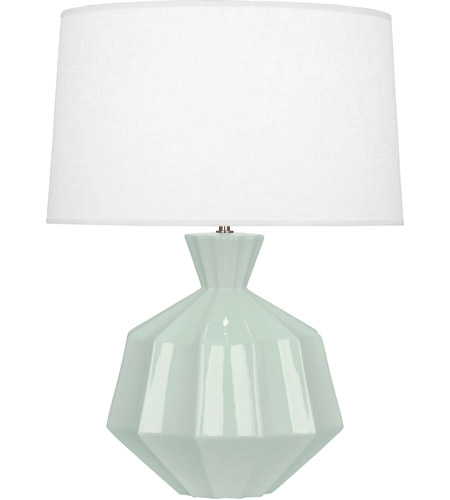 Robert Abbey CL999 Orion 27 inch 150 watt Celadon Table Lamp Portable Light, Polished Nickel Accents photo thumbnail
