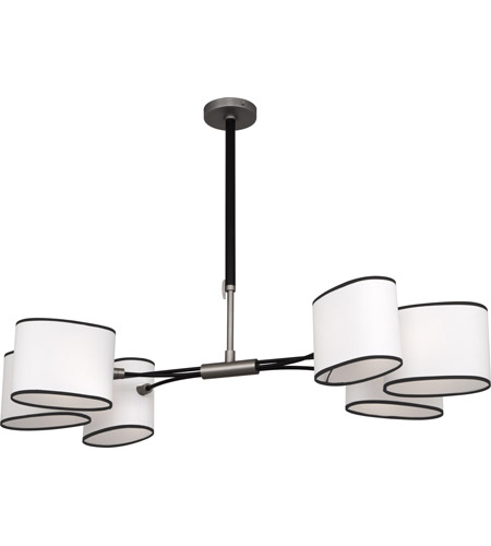 Robert Abbey D2128 Axis 6 Light 49 inch Blackened Antique Nickel with Matte Black Chandelier Ceiling Light in Ascot White Fabric