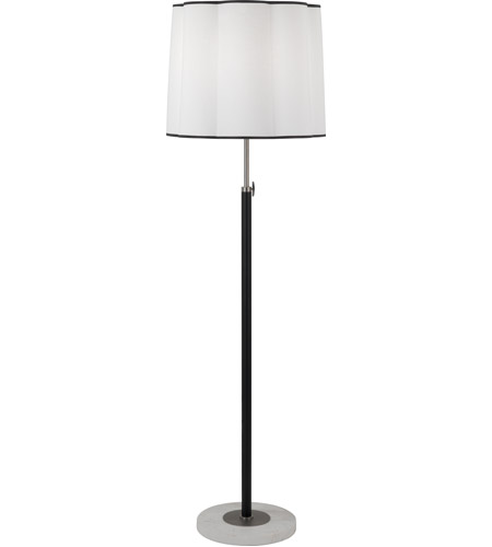 Robert Abbey D2131 Axis 58 inch 150 watt Blackened Antique Nickel with Matte Black Floor Lamp Portable Light in Ascot White Fabric