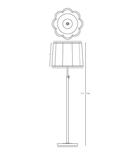 Robert Abbey D2131 Axis 58 inch 150 watt Blackened Antique Nickel with Matte Black Floor Lamp Portable Light in Ascot White Fabric D2131_line.jpg