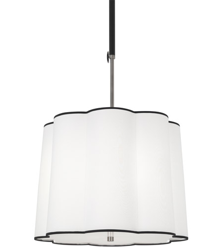 Robert Abbey D2135 Axis 3 Light 24 inch Blackened Antique Nickel with Matte Black Pendant Ceiling Light in Ascot White Fabric