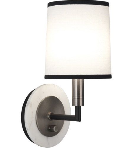 Robert Abbey D2136 Axis 1 Light 6 inch Blackened Antique Nickel with Matte Black Wall Sconce Wall Light in Ascot White Fabric