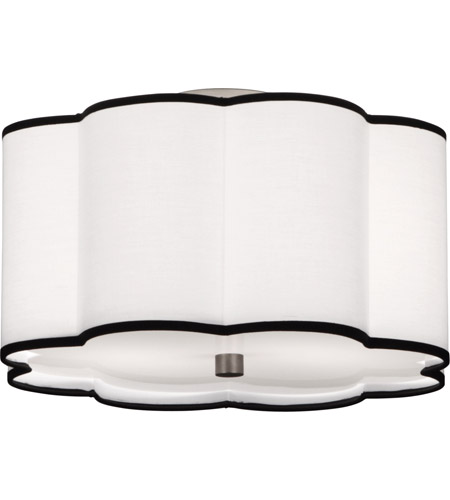 Robert Abbey D2139 Axis 2 Light 16 inch Blackened Antique Nickel Flush Mount Ceiling Light in Ascot White Fabric
