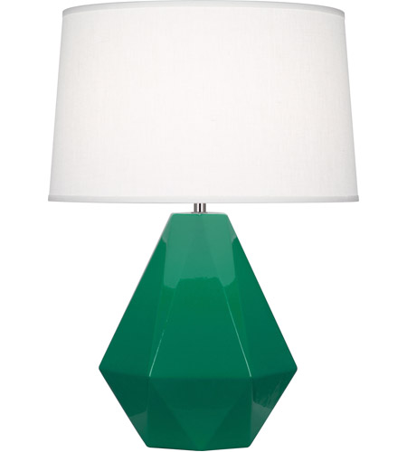 Robert Abbey EG930 Delta 23 inch 150 watt Emerald Green with Polished Nickel Table Lamp Portable Light