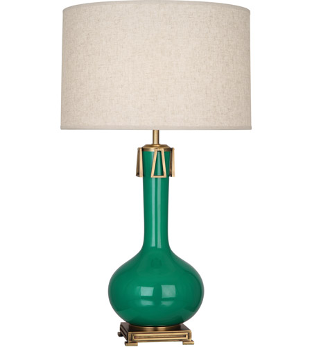 Robert Abbey EG992 Athena 32 inch 150 watt Emerald Green with Aged Brass Table Lamp Portable Light