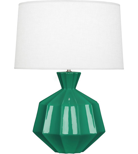 Robert Abbey Eg999 Orion 27 Inch 150 Watt Emerald Green Table Lamp Portable Light Polished Nickel Accents