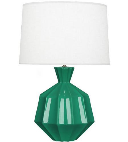 Robert Abbey Eg999 Orion 27 Inch 150 Watt Emerald Green Table Lamp Portable Light Polished Nickel Accents