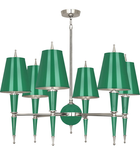 Robert Abbey G604 Jonathan Adler Versailles 6 Light 15 inch Emerald Lacquer with Polished Nickel Chandelier Ceiling Light in Emerald With Matte Silver photo