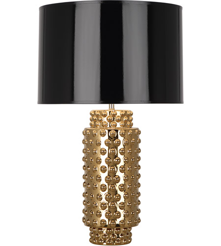 Robert Abbey G800B Dolly 28 inch 150 watt Textured Ceramic with Gold Metallic Glaze Table Lamp Portable Light in Black with Gold
