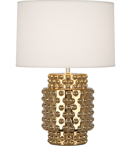 Robert Abbey G801 Dolly 21 inch 150 watt Textured Ceramic with Gold Metallic Glaze Accent Lamp Portable Light in Fondine