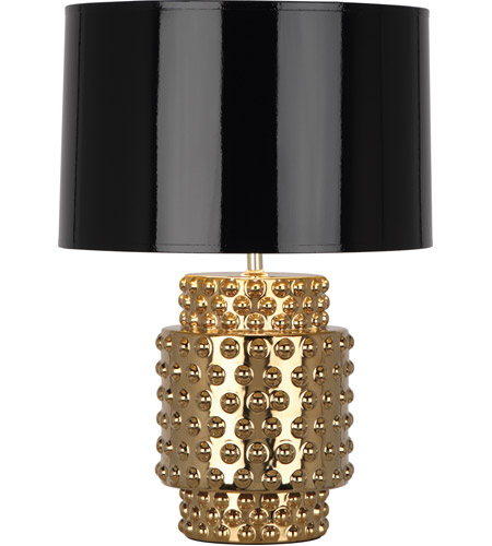 Robert Abbey G801B Dolly 21 inch 150 watt Textured Ceramic with Gold Metallic Glaze Table Lamp Portable Light in Black Parchment