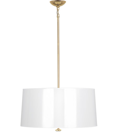 Robert Abbey G808 Penelope 3 Light 26 inch Polished Brass Pendant Ceiling Light in White Ceramik Parchment with Gold photo