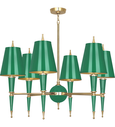 Robert Abbey G904 Jonathan Adler Versailles 6 Light 31 inch Emerald Lacquer with Modern Brass Chandelier Ceiling Light in Emerald With Matte Gold photo