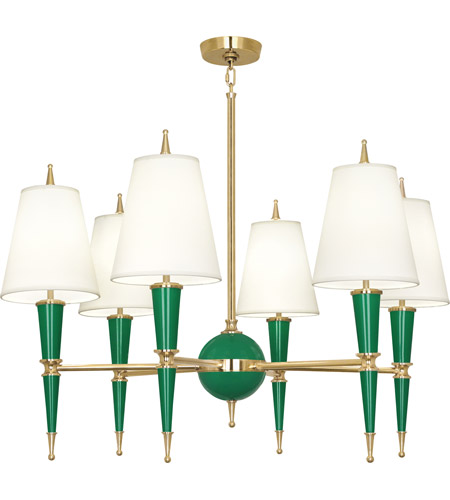 Robert Abbey G904X Jonathan Adler Versailles 6 Light 31 inch Emerald Lacquer with Modern Brass Chandelier Ceiling Light in Fondine photo