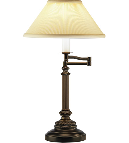 Robert Abbey L385 Abbey Bronze 24 inch 60 watt Victorian Bronze Table Lamp Portable Light in Natural Crystal Pleat