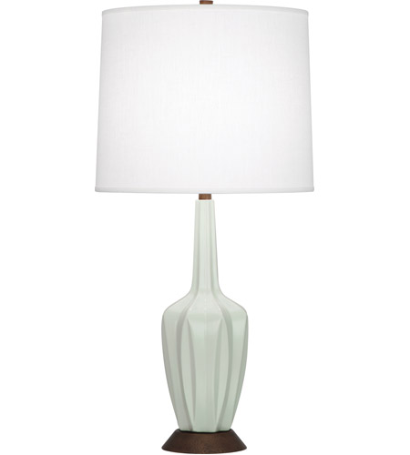Robert Abbey MCL15 Cecilia 31 inch 150 watt Matte Celadon with Walnut Wood Accent Lamp Portable Light