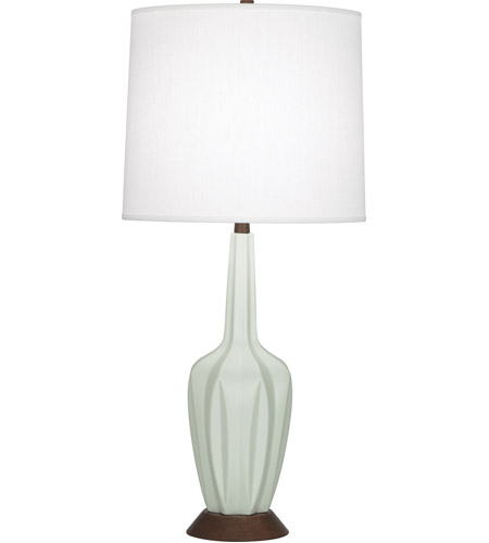 Robert Abbey MCL16 Cecilia 37 inch 150 watt Matte Celadon with Walnut Wood Table Lamp Portable Light