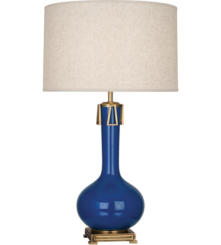 Robert Abbey MR992 Athena 32 inch 150 watt Marine Blue with Aged Brass Table Lamp Portable Light photo thumbnail