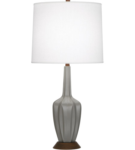 Robert Abbey MST15 Cecilia 31 inch 150 watt Matte Smoky Taupe with Walnut Wood Accent Lamp Portable Light