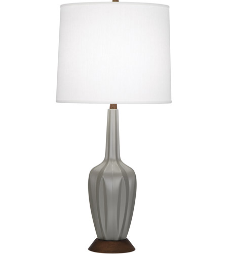 Robert Abbey MST16 Cecilia 37 inch 150 watt Matte Smoky Taupe with Walnut Wood Table Lamp Portable Light