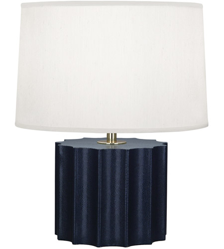 Robert Abbey N891 Anna 18 inch 100 watt Faux Navy Snakeskin with Polished Brass Table Lamp Portable Light