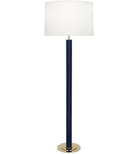 Robert Abbey N893 Anna 60 inch 150 watt Faux Navy Snakeskin with Polished Brass Floor Lamp Portable Light in Pearl Dupioni
