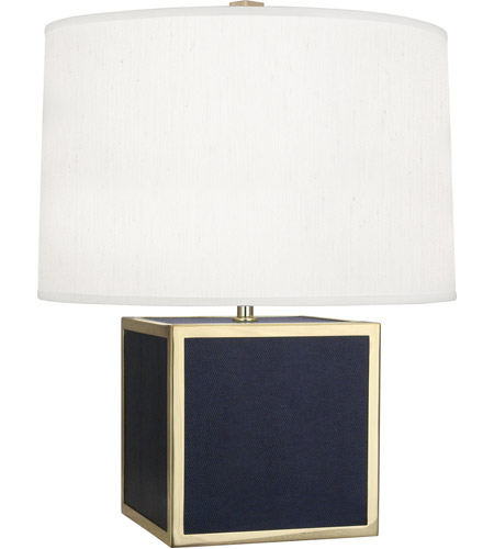 Robert Abbey N897 Anna 20 inch 150 watt Faux Navy Snakeskin with Polished Brass Table Lamp Portable Light