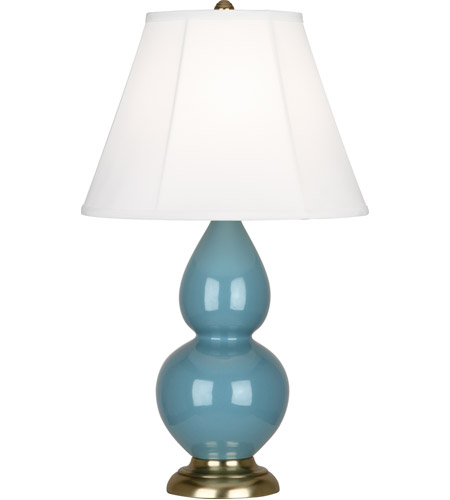 Robert Abbey OB10 Small Double Gourd 23 inch 150 watt Steel Blue Accent Lamp Portable Light in Antique Brass, Ivory Silk photo thumbnail