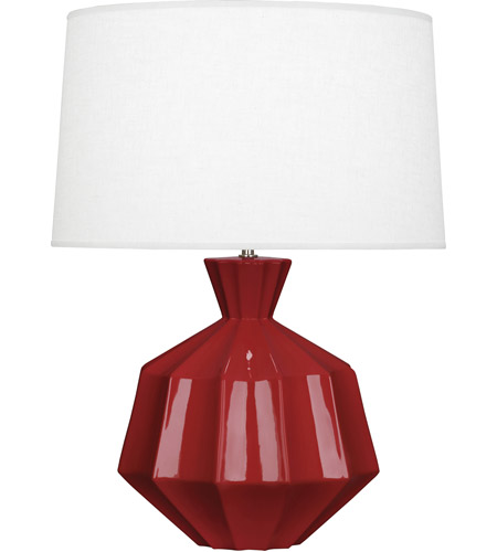 Robert Abbey OX999 Orion 27 inch 150 watt Oxblood Table Lamp Portable Light, Polished Nickel Accents photo thumbnail