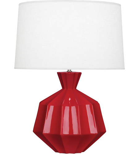 Robert Abbey RR999 Orion 27 inch 150 watt Ruby Red Table Lamp Portable Light, Polished Nickel Accents photo thumbnail