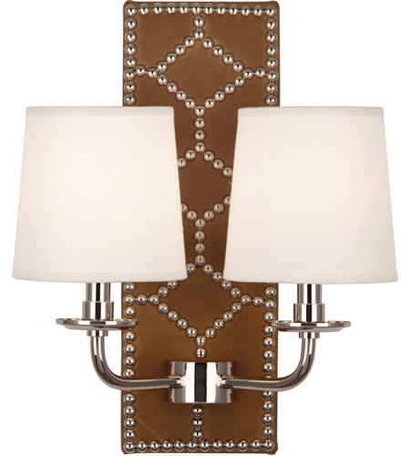 Robert Abbey S1030 Williamsburg Lightfoot 2 Light 14 inch English Ochre Leather with Polished Nickel Wall Sconce Wall Light photo