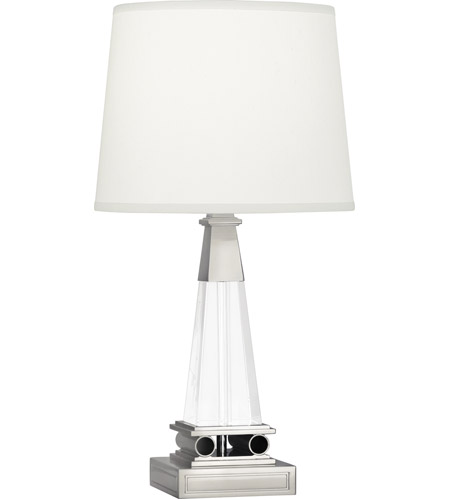 Robert Abbey S155 Darius 18 inch 100 watt Polished Nickel Accent Lamp Portable Light in Pearl Dupioni