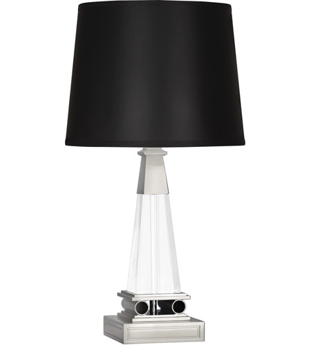 Robert Abbey S155B Darius 18 inch 100 watt Polished Nickel Table Lamp Portable Light in Black Opaque Parchment