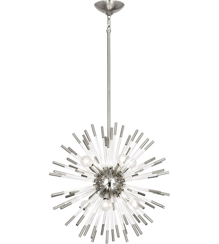 Robert Abbey S165 Andromeda 8 Light 20 inch Polished Nickel with Clear Acrylic Rods Chandelier Ceiling Light