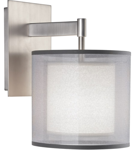 Robert Abbey S2192 Saturnia 1 Light 8 inch Stainless Steel Wall Sconce Wall Light in Silver Transparent With Ascot White photo thumbnail