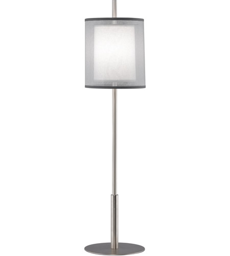 Robert Abbey S2195 Saturnia 33 inch 60 watt Stainless Steel Table Lamp Portable Light in Silver Transparent With Ascot White photo thumbnail