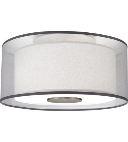 Robert Abbey S2197 Saturnia 2 Light 15 inch Stainless Steel Flushmount Ceiling Light in Silver Transparent With Ascot White photo thumbnail