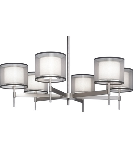 Robert Abbey S2198 Saturnia 6 Light 40 inch Stainless Steel Chandelier Ceiling Light in Silver Transparent With Ascot White photo