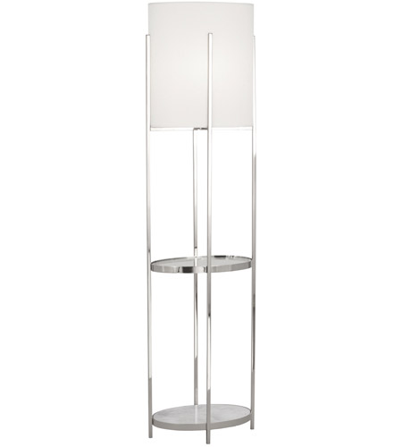 Robert Abbey S2856 Colonnade 63 inch 150 watt Polished Nickel Floor Lamp Portable Light in Open Weave White Linen