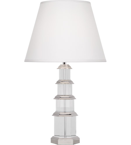 Robert Abbey S300 Williamsburg Ming 30 inch 150 watt Silver Plate with Clear Lead Crystal Table Lamp Portable Light in White Silk photo thumbnail