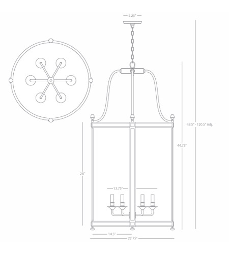 Robert Abbey S3362 Blake 6 Light 23 inch Polished Nickel Pendant Ceiling Light S3362_line.jpg