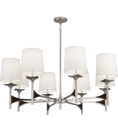 Robert Abbey S3396 Trigger 8 Light 42 inch Polished Nickel with Dark Walnut Wood Chandelier Ceiling Light in Dark Walnuted Wood photo