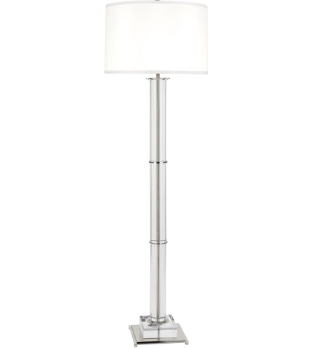 Robert Abbey S358 Williamsburg Finnie 63 inch 150 watt Polished Nickel with Clear Lead Crystal Floor Lamp Portable Light in White Silk, Polished Nickel Accents photo thumbnail