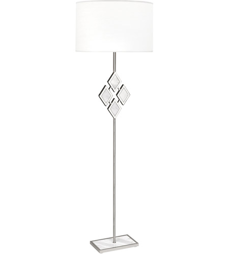 Robert Abbey S381 Edward 62 inch 150 watt Polished Nickel with White Marble Floor Lamp Portable Light in Ascot White, White Marble Accents photo thumbnail