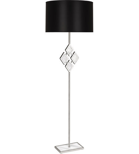 Robert Abbey S381B Edward 62 inch 150 watt Polished Nickel with White Marble Floor Lamp Portable Light in Black With White, White Marble Accents photo thumbnail