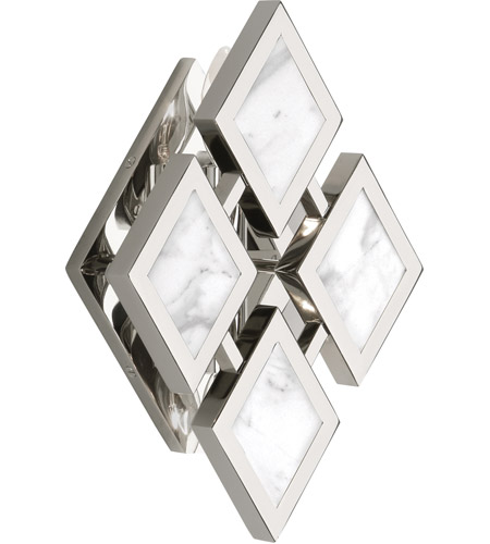 Robert Abbey S382 Edward 2 Light 8 inch Polished Nickel with White Marble Wall Sconce Wall Light, White Marble Accents photo thumbnail