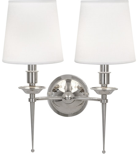 Robert Abbey S389 Cedric 2 Light 15 inch Polished Nickel Wall Sconce Wall Light